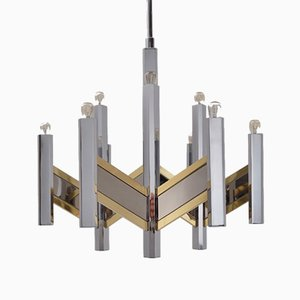 Italian Brass and Chrome 9-Light Chevron Chandelier by Gaetano Sciolari for Sciolari, 1970s