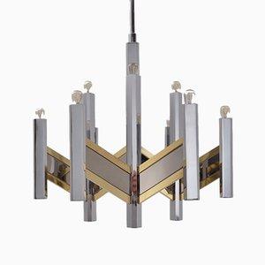 Lámpara de araña Chevron italiana de latón y metal cromado de 9 luces de Gaetano Sciolari para Sciolari, años 70