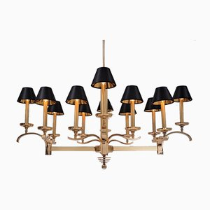 Art Deco Brass 12-Light Chandelier by Guglielmo Ulrich for FILC, 1930s
