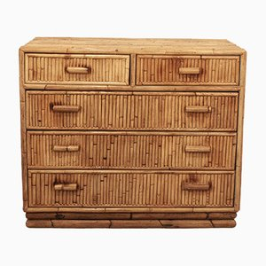 Spanish Bamboo Five-Drawer Chest, 1970s