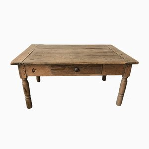 Farmhouse Rustic Coffee Table with Turned Legs and Drawer, 1930s
