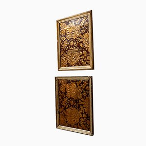 19th Century Leather Embossed Panels, Set of 2
