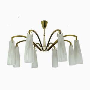 Large Mid-Century Brass and Glass Chandelier in the Style of Stilnovo, 1950s