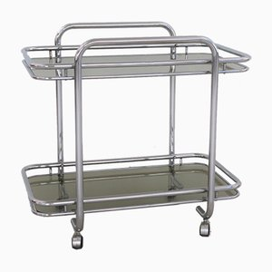 Vintage Art Deco Style Chrome Serving Cart, 1970s