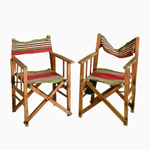 Italian Beach Chairs in Wood and Striped Fabric, 1930s, Set of 2