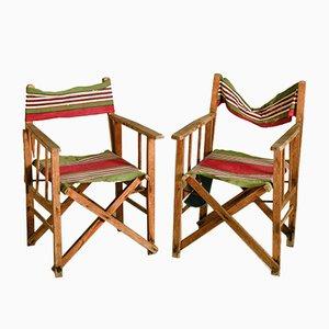 Sillas de playa italianas de madera y tela a rayas, años 30. Juego de 2