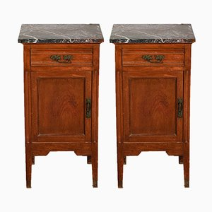 Italian Art Nouveau Style Nightstands in Walnut and Black Marble Top, 1920s, Set of 2