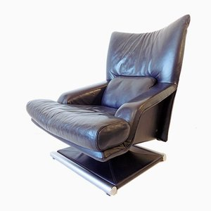 Dark Blue Leather Lounge Chair from Rolf Benz, 1980s