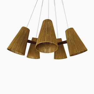 Raffia and Teak Pendant Lamp from Temde, 1960s