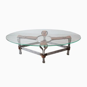 Oval Coffee Table by Jacques Adnet, 1960s