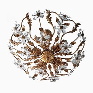 Coco Chanel Style Gold-Colored Chandelier with Crystal Flowers, 1970s
