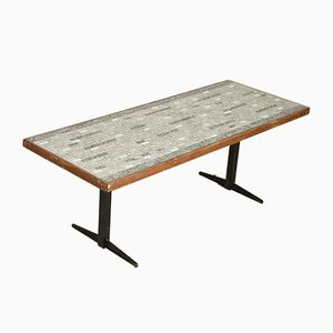 Italian Rectangular Iron and Tile Coffee Table, 1960s