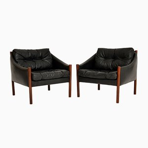Vintage Danish Rosewood & Leather Armchairs, 1960s, Set of 2
