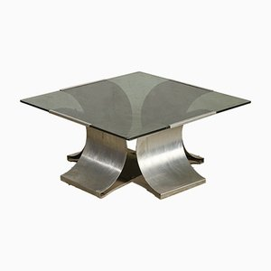 French Steel and Glass Coffee Table by Francois Monnet, 1970s