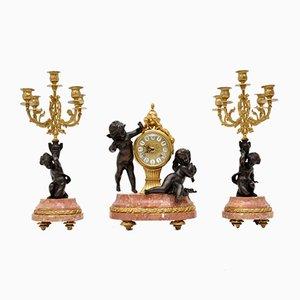 Antique Italian Imperial Mantel Clock & Candelabra, 1950s, Set of 3