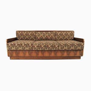 Sofá cama Art Déco de nogal, años 60