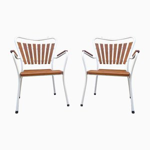 Mid-Century Danish Stackable Teak & Tubular Steel Garden Chairs from Daneline, Set of 2