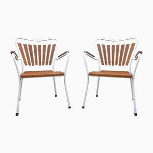 Mid-Century Danish Stackable Teak & Tubular Steel Garden Chairs from Daneline, Set of 2
