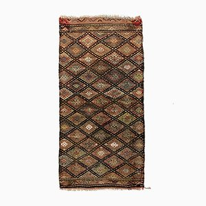 Small Vintage Turkish Red, Brown & Beige Mini Kilim Runner, 1960s