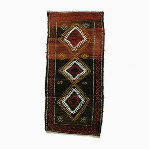 Small Vintage Turkish Red, Gold & Black Mini Kilim Runner, 1960s