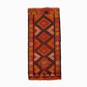 Small Vintage Turkish Red, Pink & Orange Mini Kilim Runner, 1960s