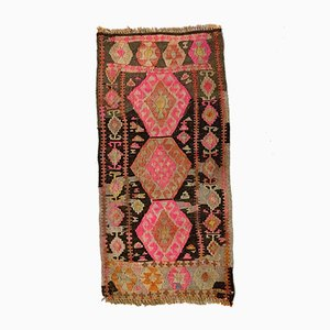 Small Vintage Turkish Pink, Orange & Black Mini Kilim Runner, 1960s