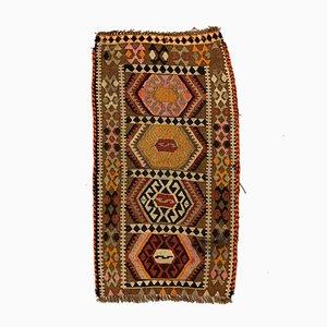 Kleiner Türkischer Vintage Mini Kilim Teppich in Rosa, Braun & Beige, 1960er