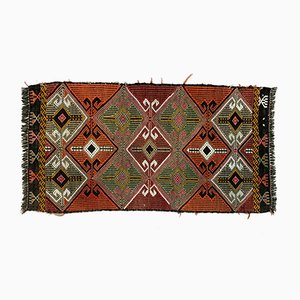 Small Vintage Turkish Red, Orange & Green Mini Kilim Runner, 1960s