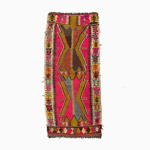 Small Vintage Turkish Pink & Brown Mini Kilim Runner, 1960s