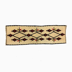 Small Vintage Turkish Beige, Red & Black Mini Kilim Runner, 1960s