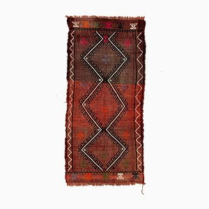 Small Vintage Turkish Red & Black Mini Kilim Runner, 1960s