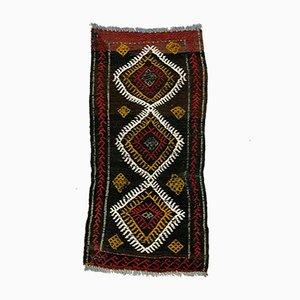 Kleiner türkischer Vintage Mini Kilim Teppich in Rot, Gold & Schwarz, 1960er