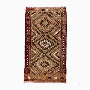 Kleiner Türkischer Minimalistischer Vintage Teppich in Schwarz, Braun & Beige, 1960er