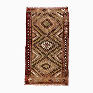 Small Vintage Turkish Black, Brown & Beige Mini Kilim Rug, 1960s