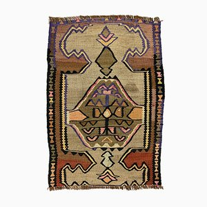 Small Vintage Turkish Red, Brown & Beige Mini Kilim Rug, 1960s
