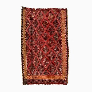 Small Vintage Turkish Black & Red Wool Mini Kilim Rug, 1960s