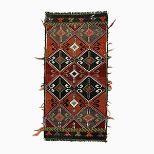 Small Vintage Turkish Black, Green & Red Wool Mini Kilim Rug, 1960s
