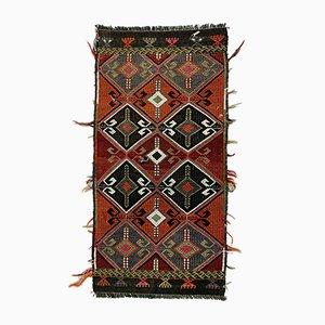 Small Vintage Turkish Black, Green & Red Wool Mini Kilim Rug, 1960s