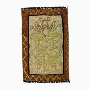 Small Vintage Turkish Brown, Green & Beige Wool Mini Kilim Rug, 1960s