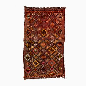 Small Vintage Turkish Black, Red & Gold Wool Mini Kilim Rug, 1960s