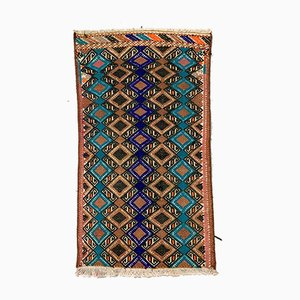 Small Vintage Turkish Blue, Brown & Gold Wool Mini Kilim Rug, 1960s