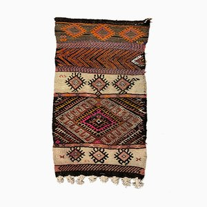 Small Vintage Turkish Brown, Red & Beige Wool Mini Kilim Rug, 1960s
