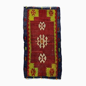 Small Vintage Turkish Black, Red & Green Wool Mini Kilim Rug, 1960s