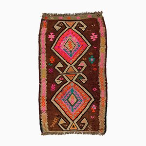 Small Vintage Turkish Brown, Pink & Beige Wool Mini Kilim Rug, 1960s