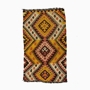 Small Vintage Turkish Brown & Gold Wool Mini Kilim Rug, 1960s