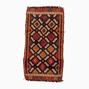 Small Vintage Turkish Brown, Red & Gold Wool Kilim Rug, 1960s
