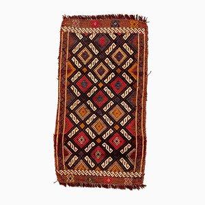 Small Vintage Turkish Brown, Red & Gold Wool Kilim Rug, 1960s