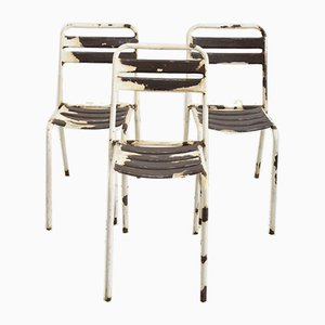French Rustic White Chairs from Tolix, 1960s, Set of 3