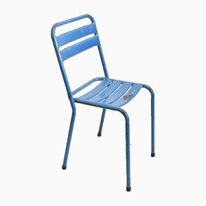 French Blue Chairs from Tolix, 1960s, Set of 4