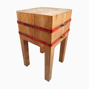 French Butchers Chopping Block Table on Stand, 1930s